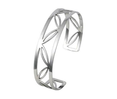 Ladies sterling silver fancy solid pierced torque bangle